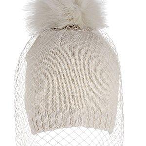 "BCBG ""winter white"" knit beanie w/ veiling"